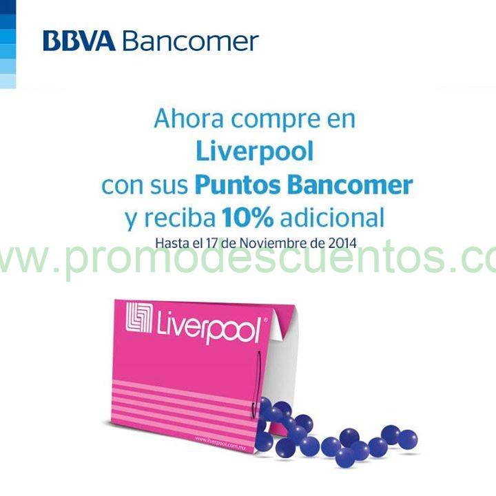 Liverpool: 10% extra pagando con Puntos Bancomer (incluyendo El Buen Fin)