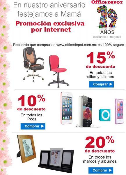 Office Depot: promoción de aniversario y día de las madres