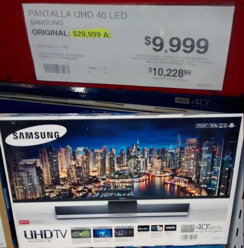"""Sam's Club: Pantalla Samsung Serie 7, 4K, 40"""" $9,999"""