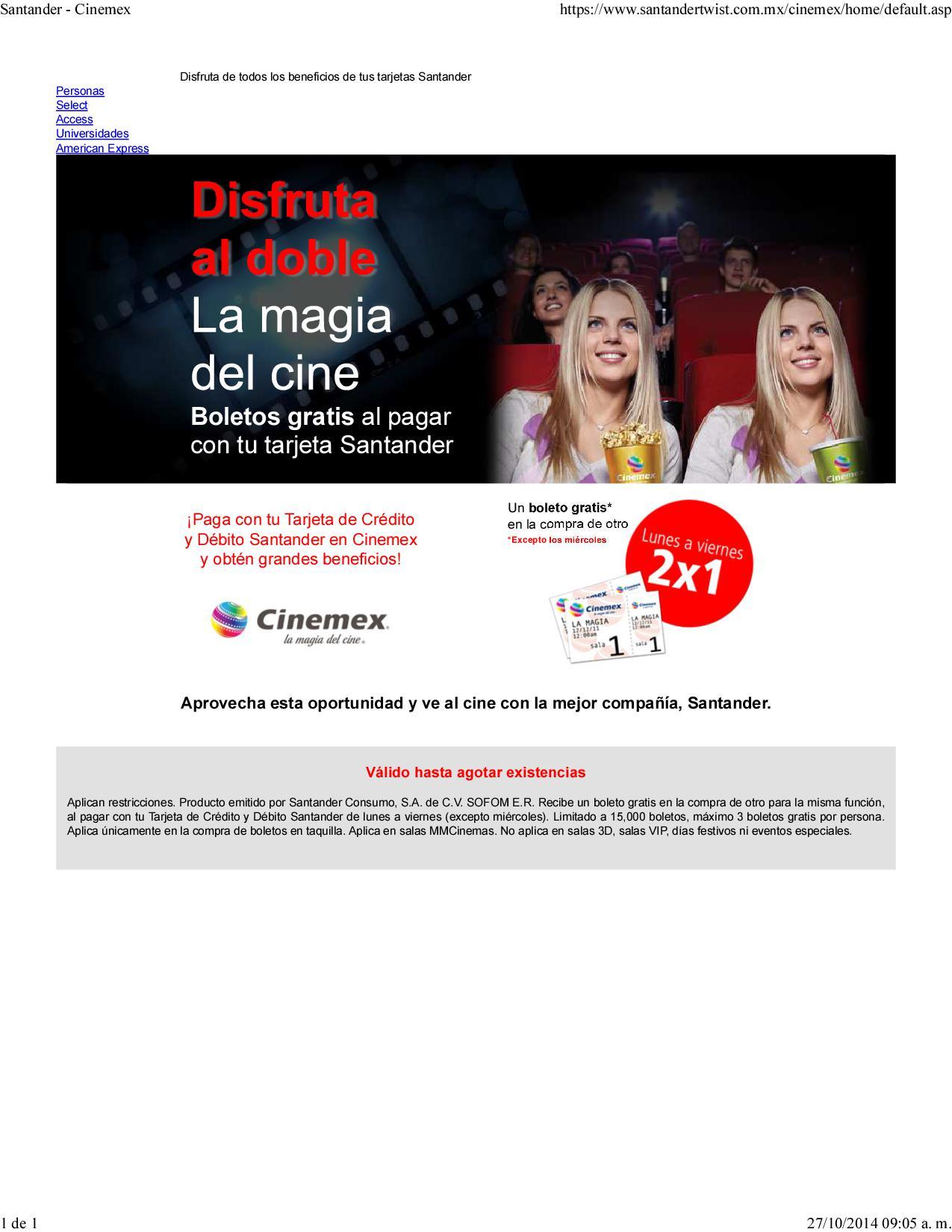 2x1 en Cinemex pagando con tarjetas Santander