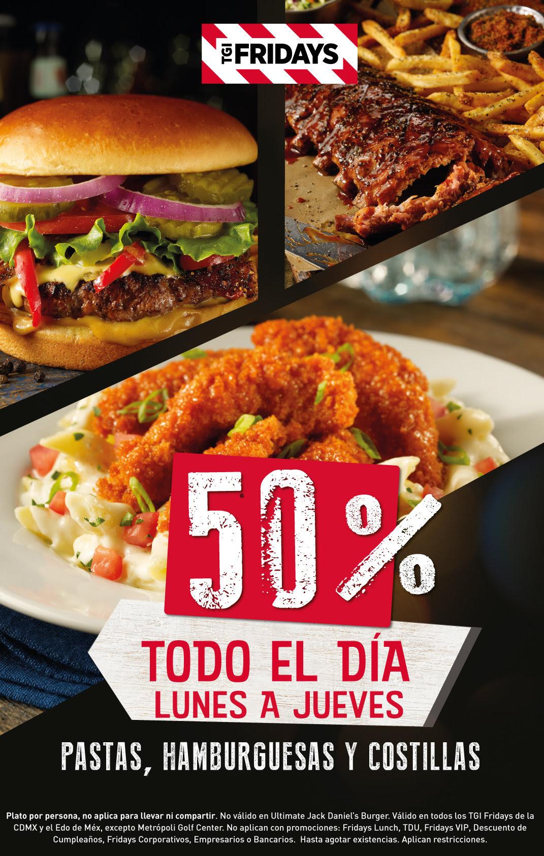 TGI Fridays: 50% en pastas, hamburguesas y costillas CDMX y Edomex