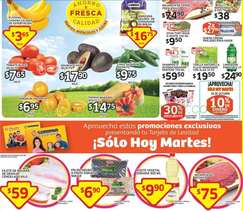 Soriana: frijol $7 la bolsa, mojarra $59 el kilo y ofertas de frutas y verduras
