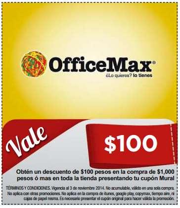 OfficeMax: $100 de descuento en compras de $1,000 (cupón en periódico de hoy)