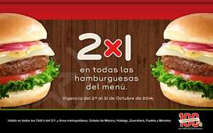 2x1 Hamburguesas Chili's