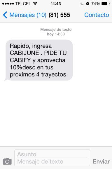 Cabify CDMX: código 10% de descuento en 4 viajes