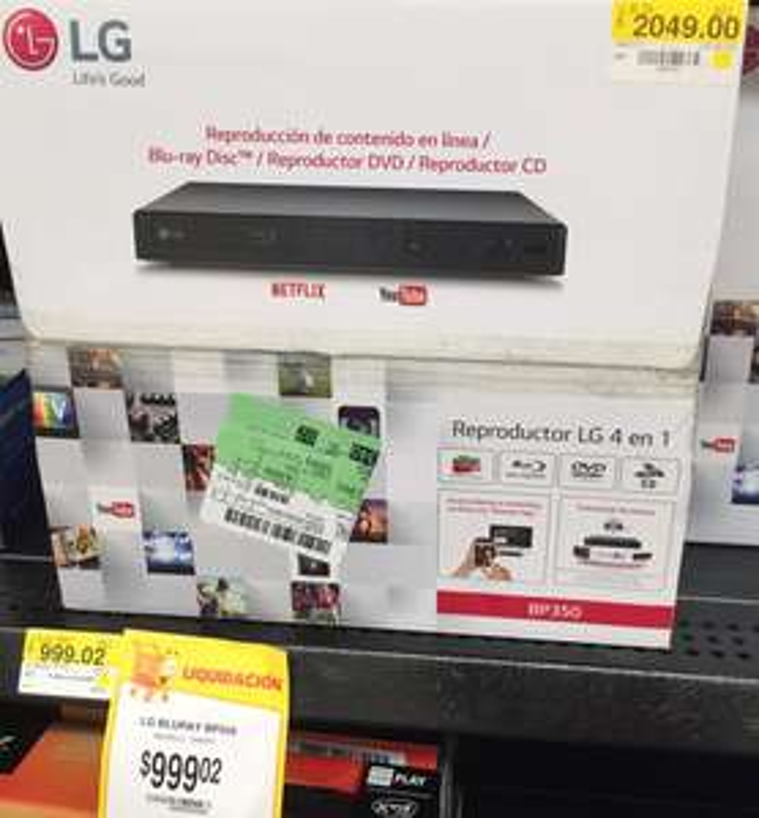 Walmart: reproductor Blu-Ray LG BP5500 a $999.02