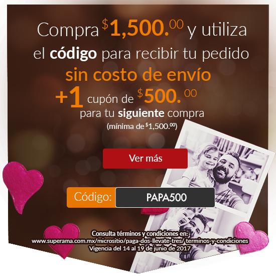 Superama: cupón de $500 y envio gratis (ambos min $1,500)