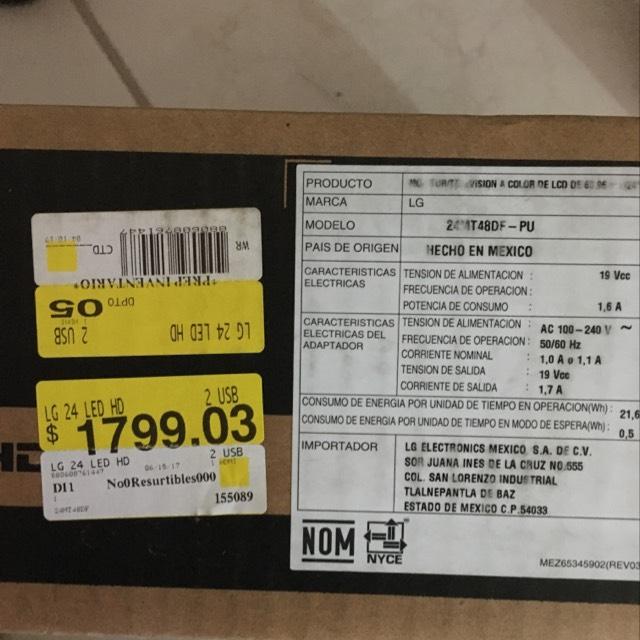 """Walmart Calandrias: LG tv monitor 24"""" en liquidación"""