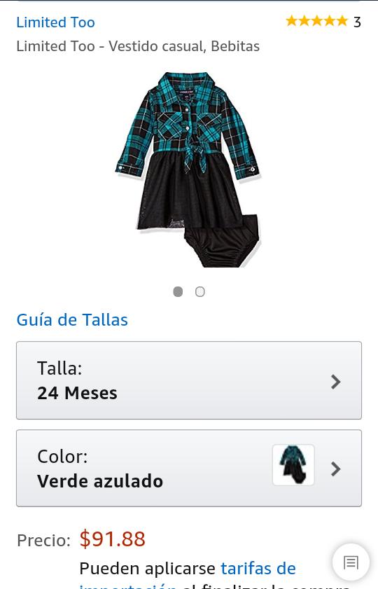 Amazon: Vestido Limited too talla 24m