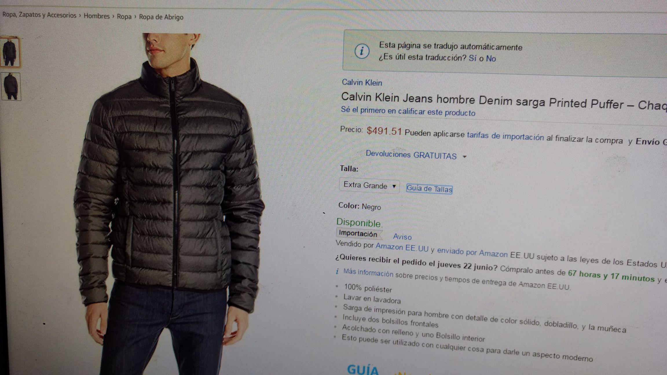 Amazon: Chamarra Calvin Klein Printed Puffer XL