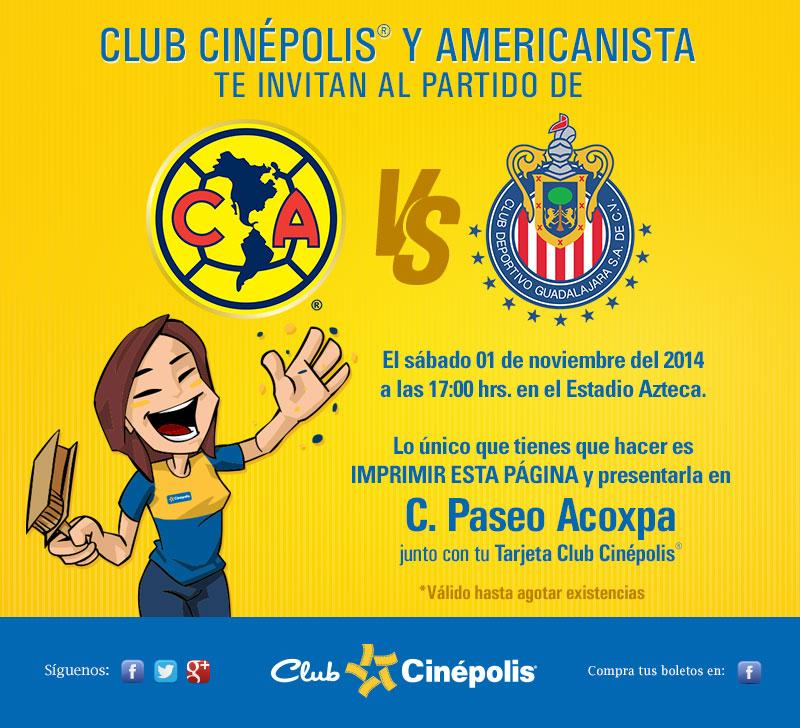 Boleto gratis para América vs Chivas con tarjeta de Club Cinépolis