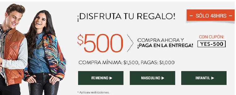 DAFITI $500 de descuento en compras mayores a $1500