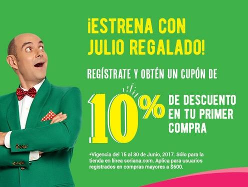 Julio Regalado 2017 en Soriana.com: 10% de descuento extra para primera compra y envío gratis