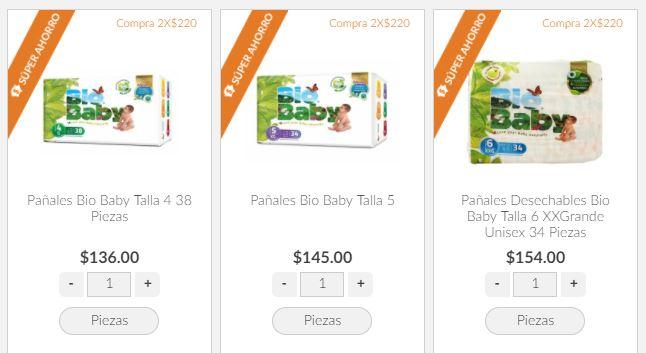 Superama en línea: Pañales Bio Baby 8 paquetes Etapas 4-5-6 por $680