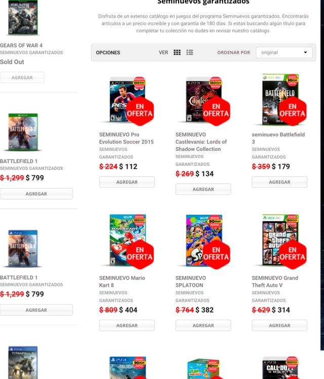 Gamershop: seminuevos con el 50% de descuento, varios títulos de varias plataformas