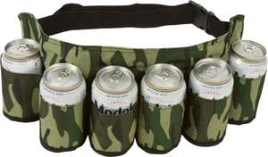 Amazon: EZ Drinker Beer & Soda Can Holster Belt, Traducción: Cinturon PortaCHeves pa' la pachanga