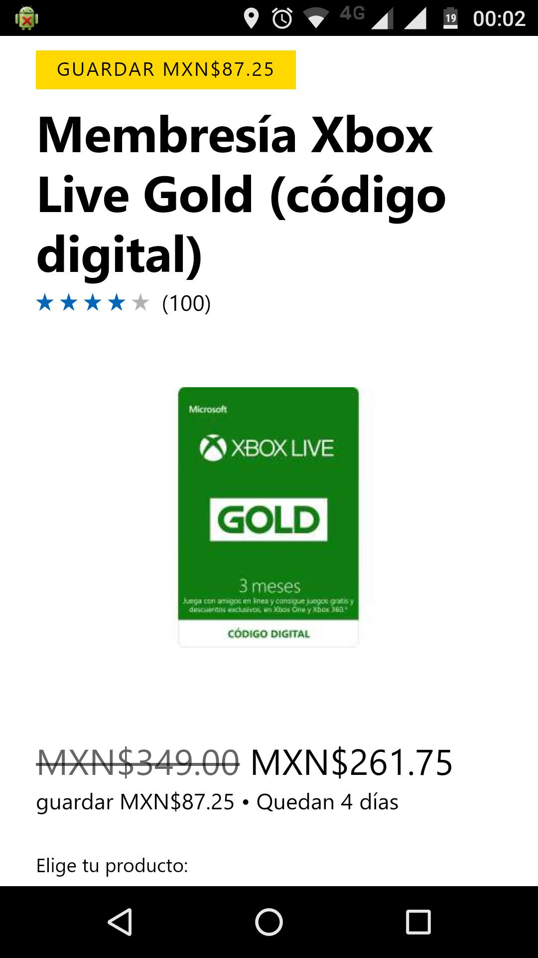 Xbox live gold 3 meses con 25% descuento