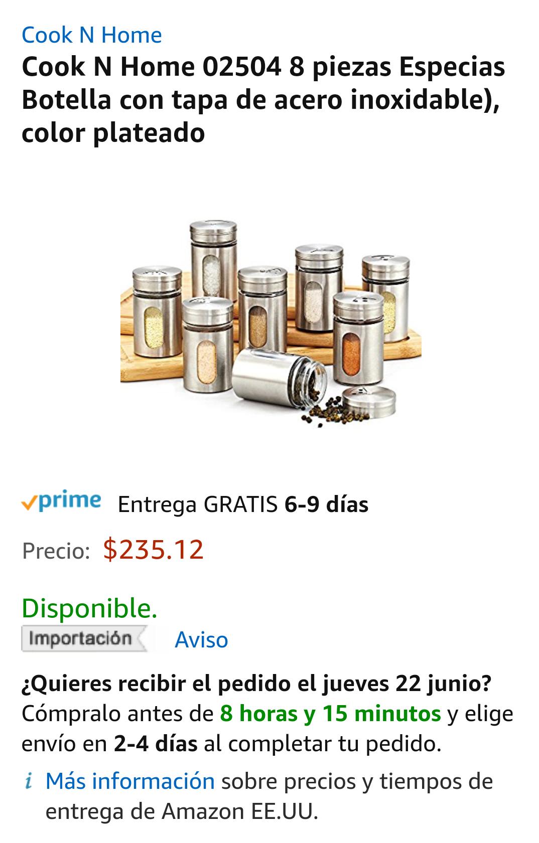 Amazon MX: 8 especieros Cook n Home con Prime
