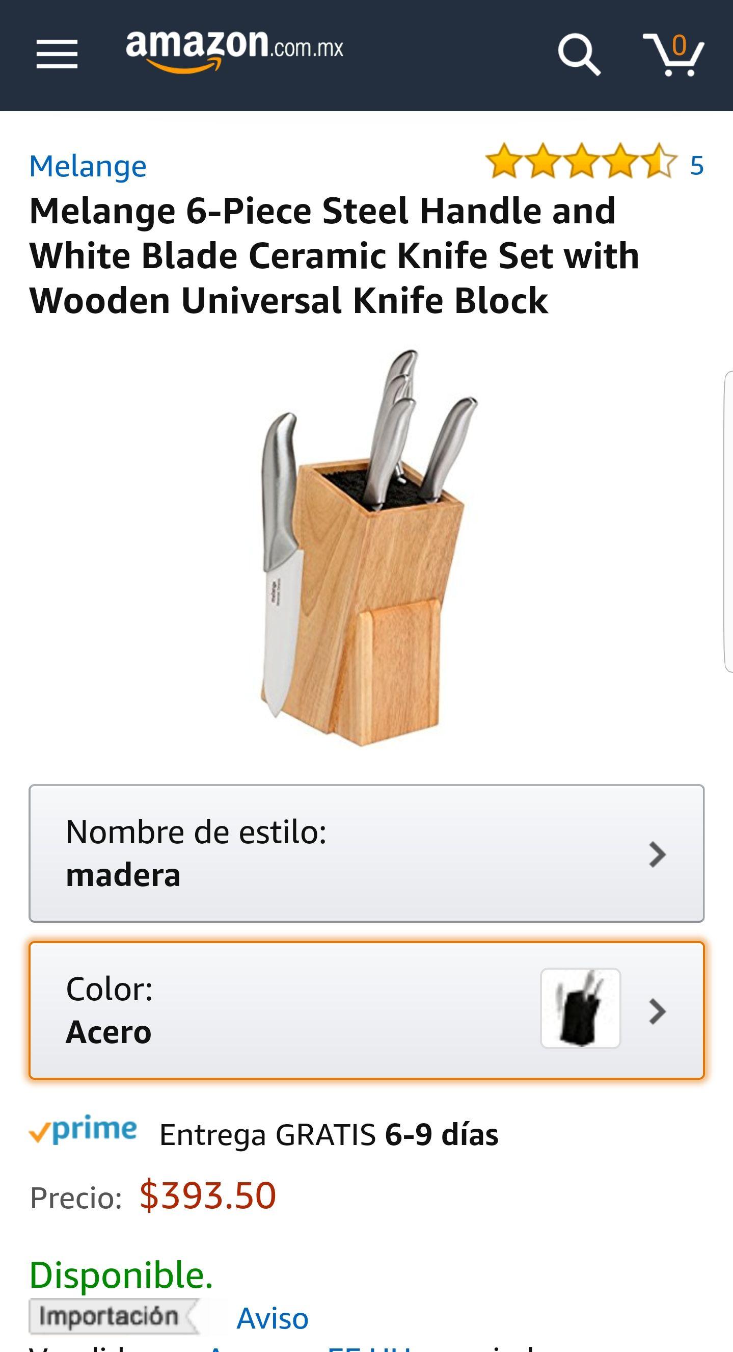 Amazon México: Set de cuchillos Melange 6 piezas cerámicos, mango de acero.