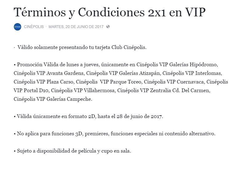 Cinepolis: 2x1 en salas VIP de lunes a jueves, consulta sucursales participantes