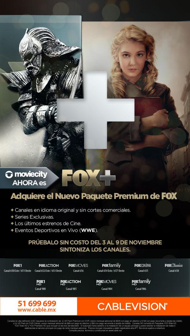 Cablevision/Dish/Sky/Cablemas: Paquete Fox+ gratis (canales Moviecity) del 3 al 9 de noviembre.