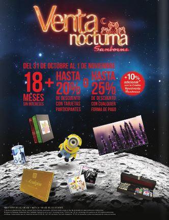 Venta Nocturna en Sanborns 31 de octubre y 1 de noviembre
