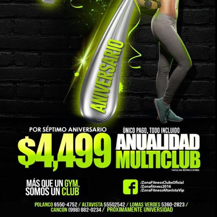 Zona Fitness: Anualidad multiclub de $7500 a $4,499 (nuevos socios)