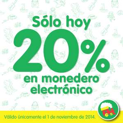 Juguetron: 20% en monedero electrónico en toda tu compra