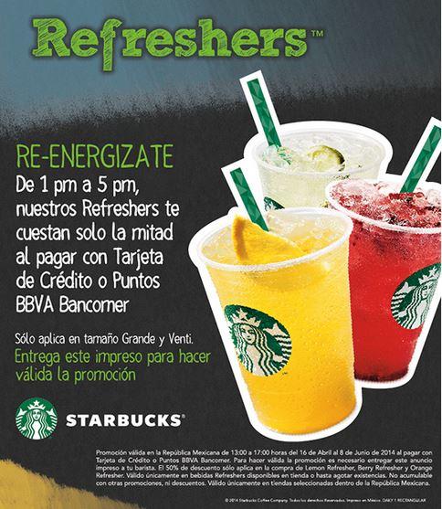 Starbucks: 50% de descuento en refreshers con Bancomer
