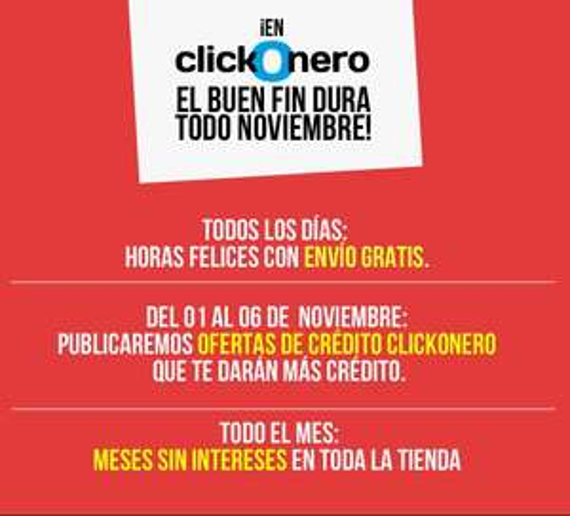 Ofertas del Buen Fin 2014 en Clickonero: crédito extra