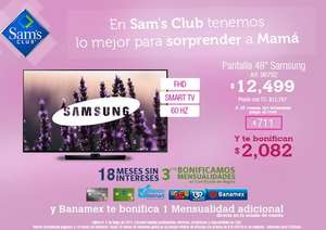 "Sam's Club: Samsung LED Smart TV 48"" $9,945 después de bonificaciones"