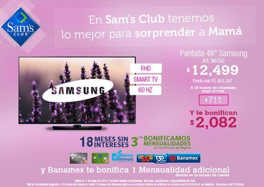 """Sam's Club: Samsung LED Smart TV 48"""" $9,945 después de bonificaciones"""