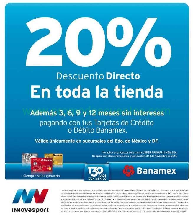 Innovasport: 20% de descuento en toda la tienda con tarjetas Banamex