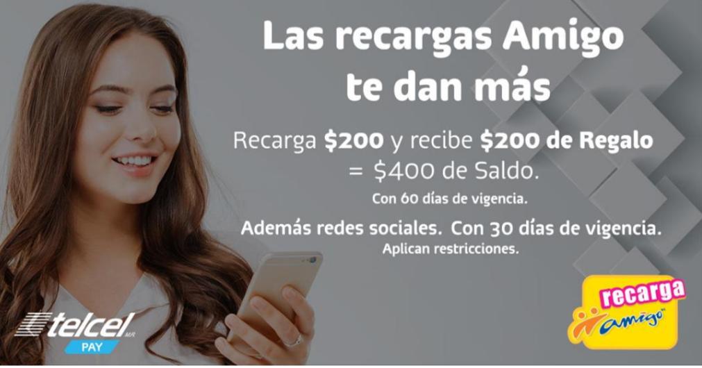Telcel Pay: Recarga $200 y obtén $200 adicionales de regalo
