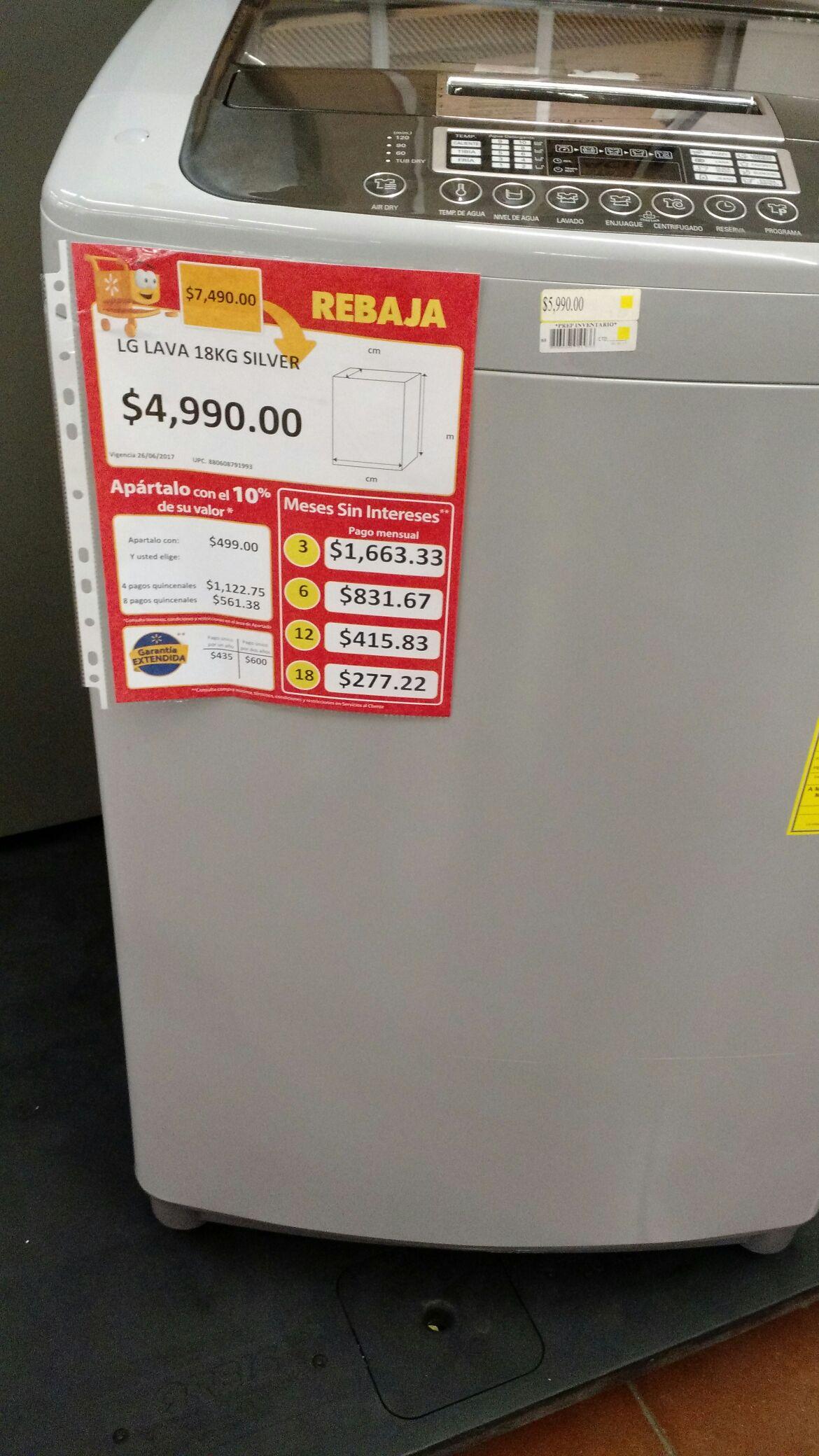 Walmart: Lavadora LG Turbo Drum 18kg a $4,990