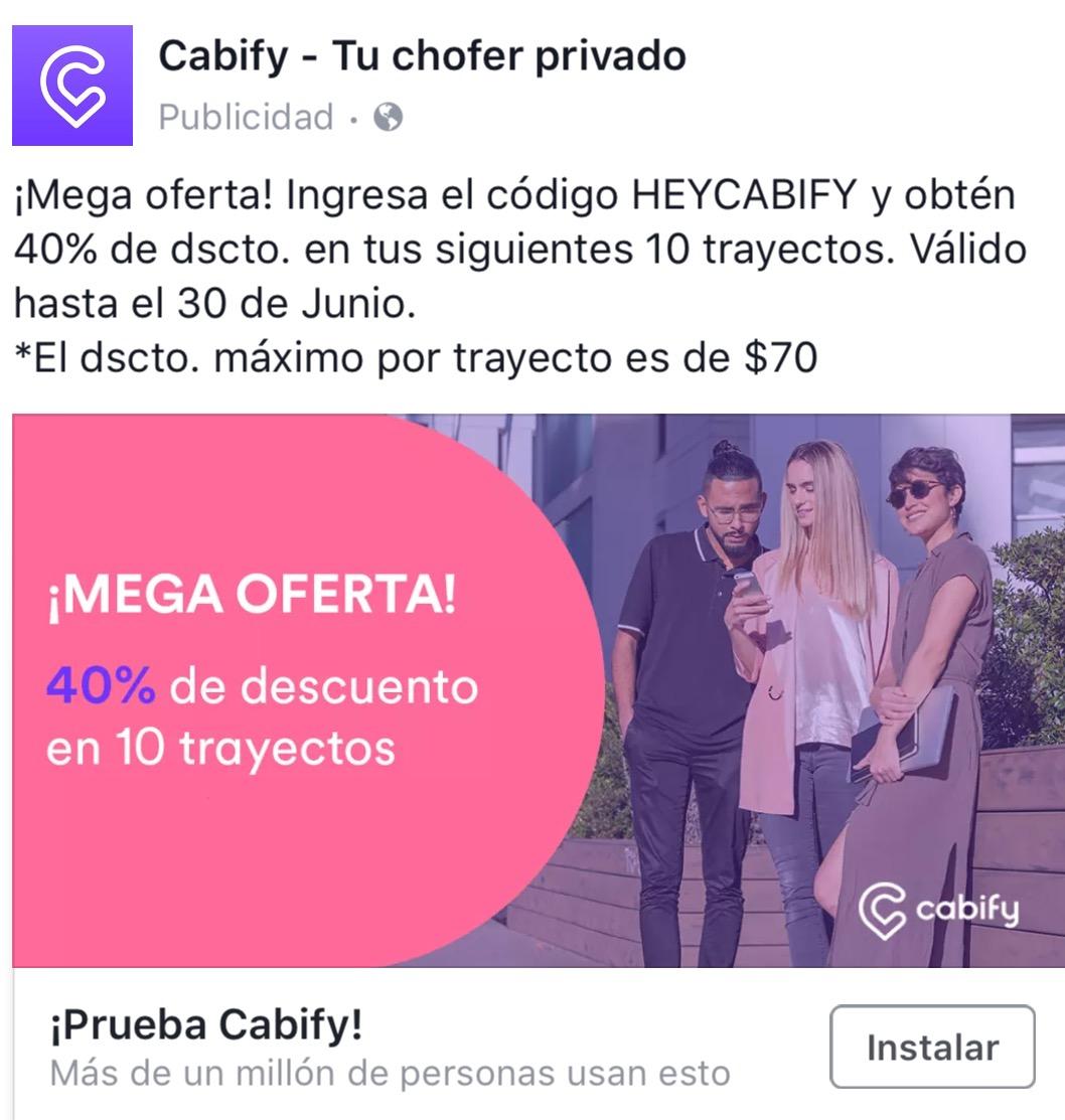 Cabify: código de 40% desc. En 10 viajes (máximo $70, solo nuevos usuarios)