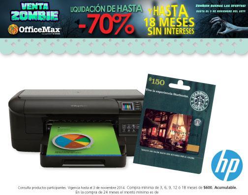 OfficeMax: tarjeta Starbucks de $150 comprando impresora y más