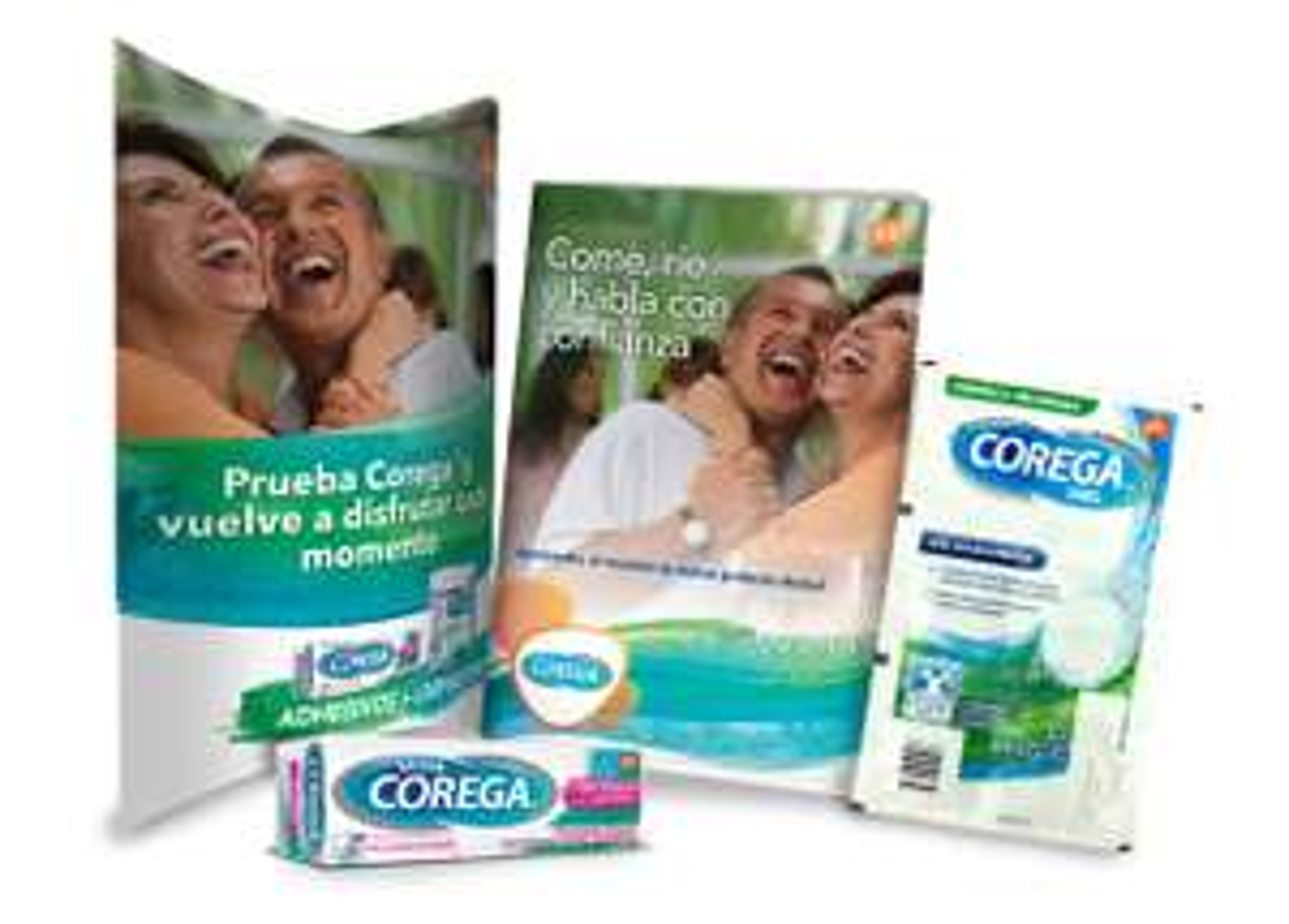 Corega: Muestra gratis de corega (pegamento para placas dentales)