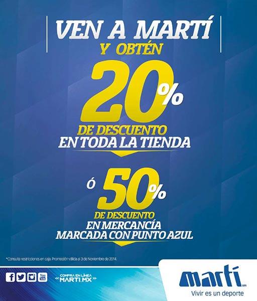 Marti: 20% de descuento en toda la tienda y 50% en punto azul