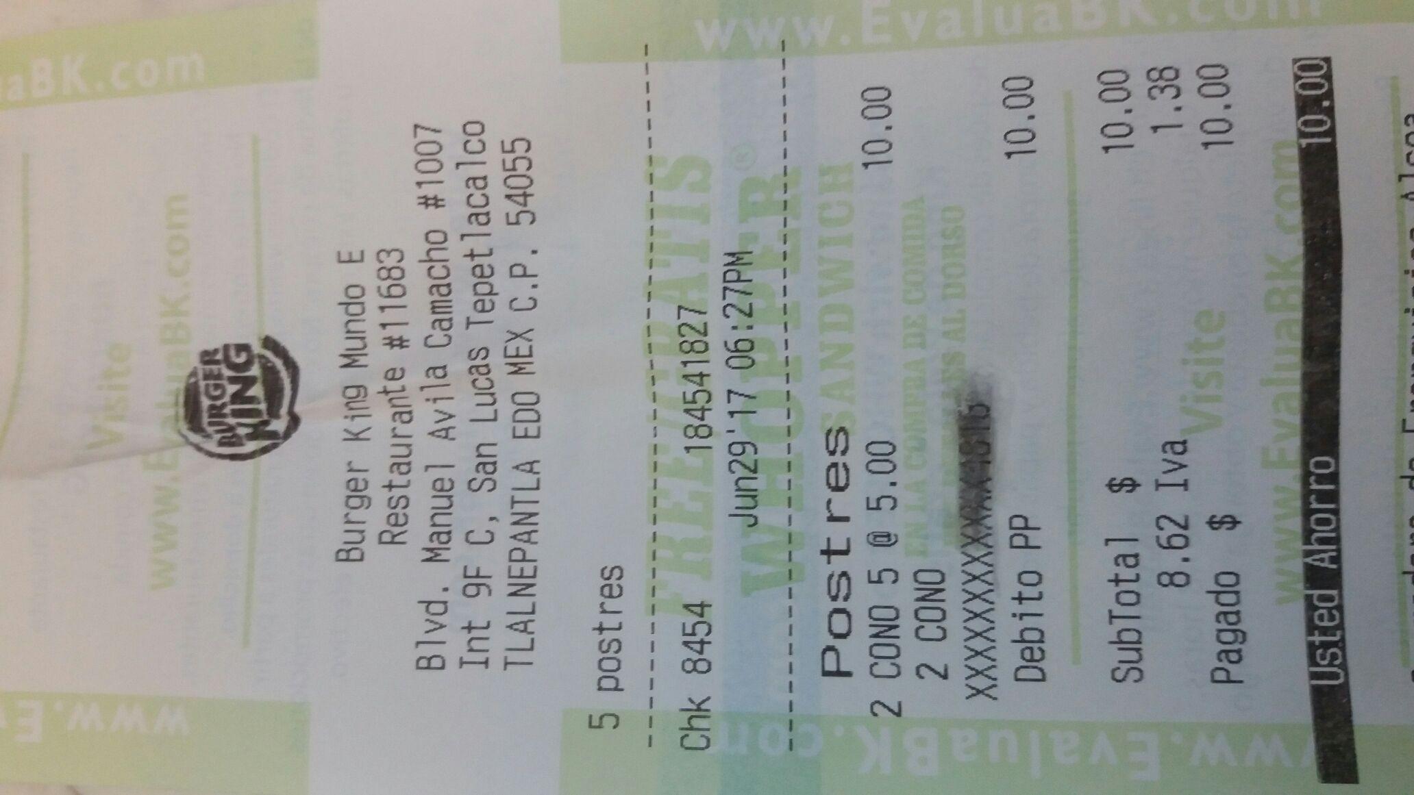 Burger King: Cono sencillo $5.00