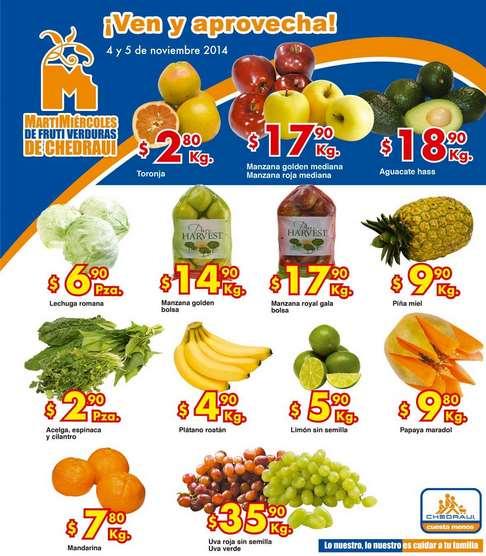 Ofertas de frutas y verduras en Chedraui 4 y 5 de noviembre