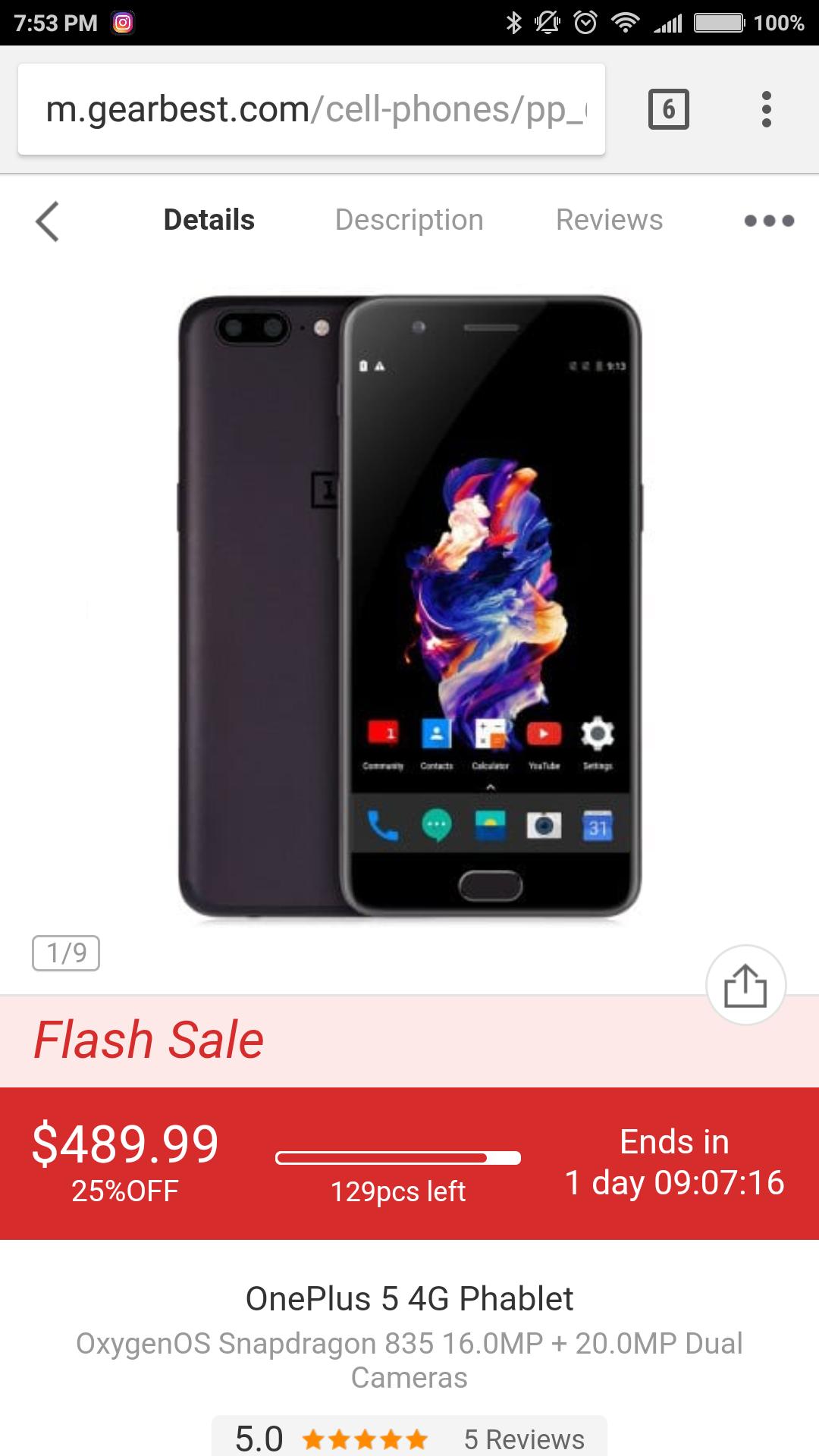 Gearbest: OnePlus 5 64 Gb 6 Ram
