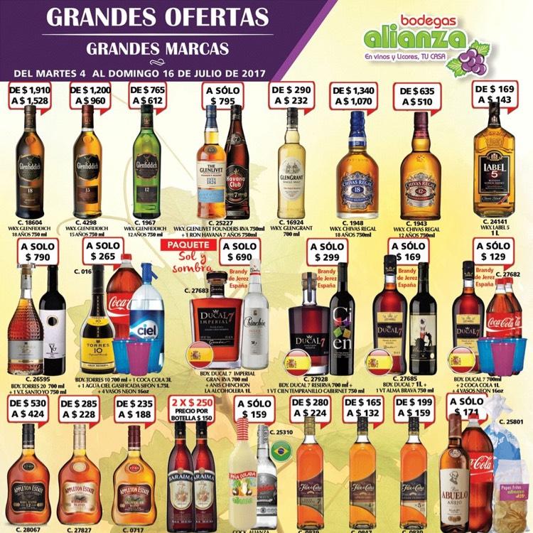 Bodegas Alianza: Torres 10, Coca 3lts, Ciel 1.75 Lt, 4 vasos fiesteros