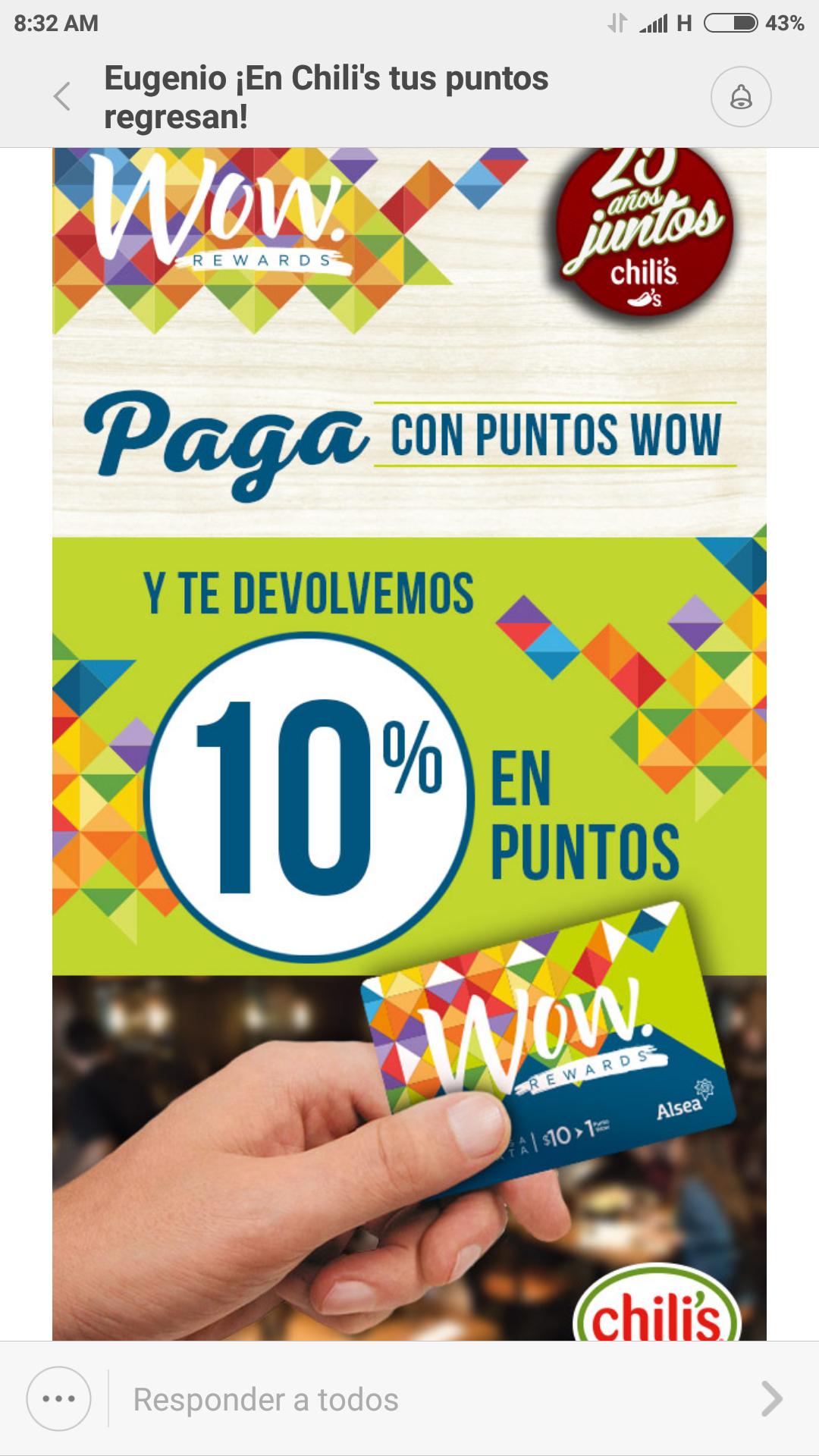 Chili's: 10% en puntos pagando con puntos WOW