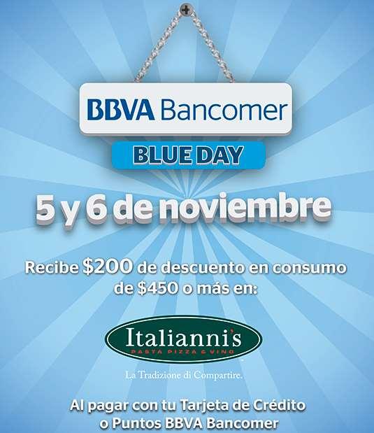 Italianni's: $200 de descuento en consumo de $450 con Bancomer