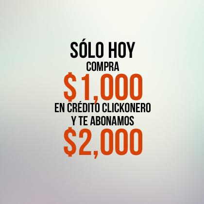 CREDITO DE CLICKONERO COMPRANDO 1000 Y DAN 2000