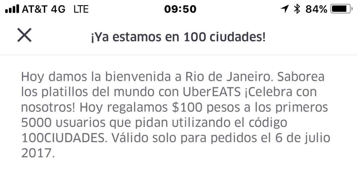 Uber Eats: Cupón de $100 solo hoy (usuarios nuevos y existentes)
