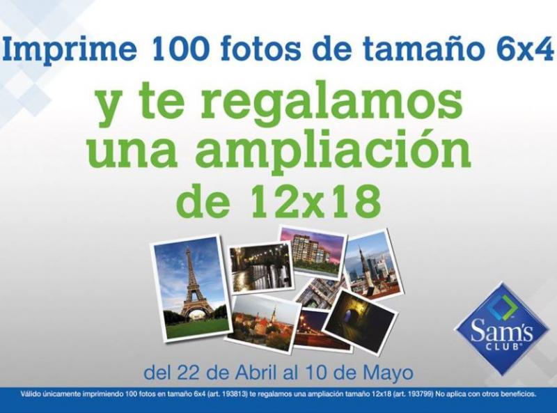 Sam's Club: ampliación 12x18 gratis imprimiendo 100 fotos tamaño normal