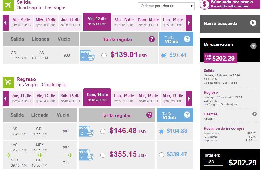 Volaris: Guadalajara – Las Vegas desde $202 USD redondo