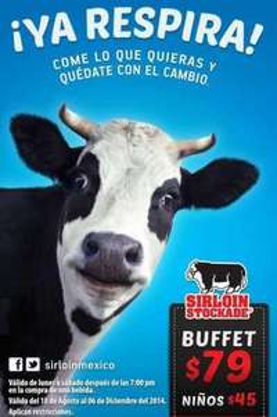 Sirloin Stockade: buffet $79 o 2x1 comprando bebida después de las 6 ó 7